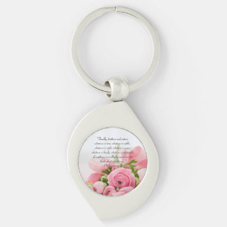Pastel Pink Bouquet of Flowers Bible Verse Keychain