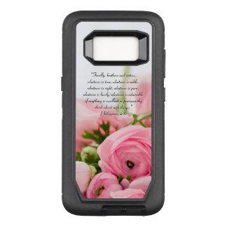 Pastel Pink Bouquet of Flowers Bible Verse OtterBox Defender Samsung Galaxy S8 Case