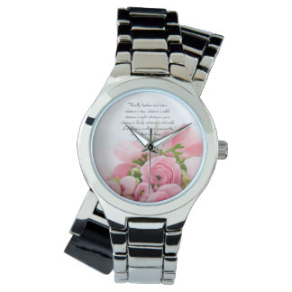Pastel Pink Bouquet of Flowers Bible Verse Watch