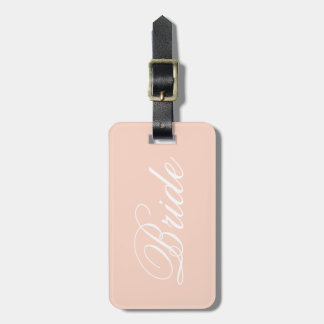 Pastel Pink Bride Travel Luggage Tag