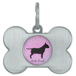 Pastel Pink Bully Breed Dog Bone Pet Tag