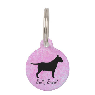 Pastel Pink Bully Breed Dog Small Pet Tag