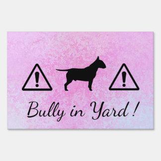 Pastel Pink Bully Dog Large Yard Sign