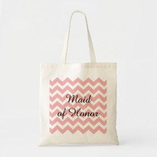 Pastel Pink Chevron Zigzag Maid of Honor Tote Bag