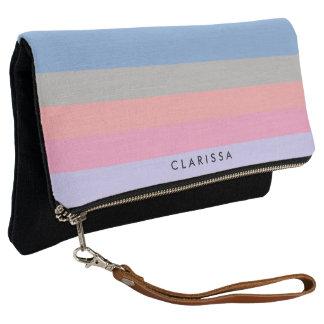 pastel pink coral grey blue purple color block clutch