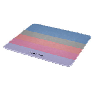 pastel pink coral grey blue purple color block cutting board