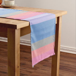pastel pink coral grey blue purple color block short table runner