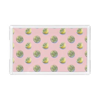 Pastel pink cut yellow lemon painting pattern acrylic tray