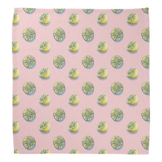 Pastel pink cut yellow lemon painting pattern bandanna