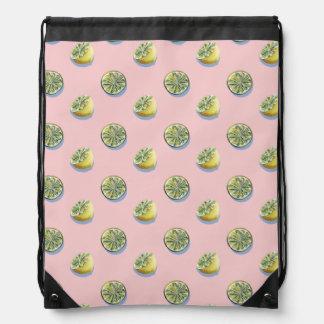 Pastel pink cut yellow lemon painting pattern drawstring bag
