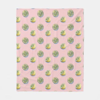 Pastel pink cut yellow lemon painting pattern fleece blanket
