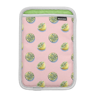 Pastel pink cut yellow lemon painting pattern iPad mini sleeve