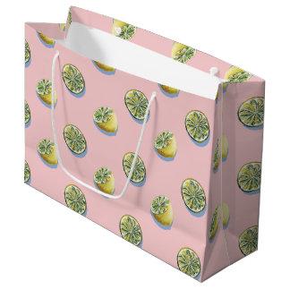 Pastel pink cut yellow lemon painting pattern large gift bag