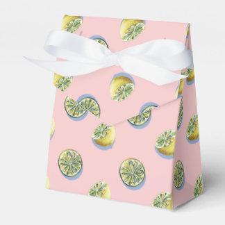 Pastel pink cut yellow lemon painting pattern party favor box