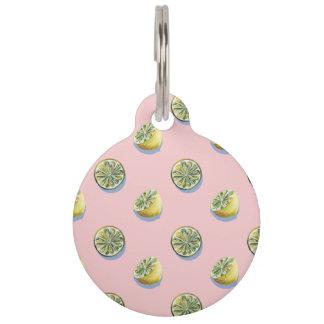 Pastel pink cut yellow lemon painting pattern pet name tag