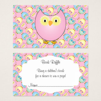 Pastel Pink Cute Owl Baby Book Raffle Business Card