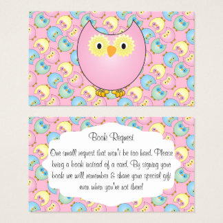Pastel Pink Cute Owl Baby Book Request Business Card