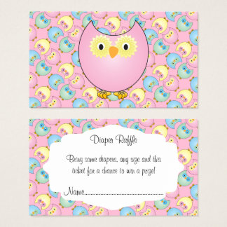 Pastel Pink Cute Owl Baby Diaper Raffle Business Card
