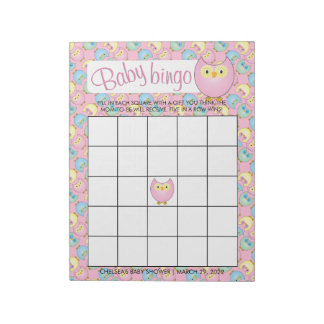 Pastel Pink Cute Owl Baby Shower Theme | Bingo Notepad