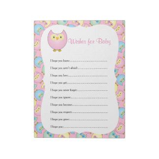 Pastel Pink Cute Owl Baby Shower Theme - Wishes Notepad