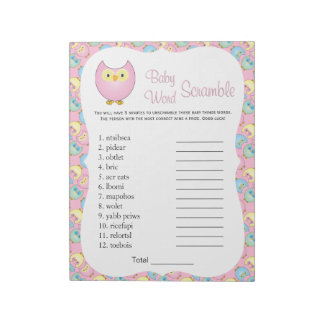 Pastel Pink Cute Owl Baby Shower Theme Word Game 2 Notepad
