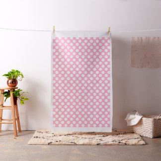 Pastel Pink Fabric with Large White Polka Dots