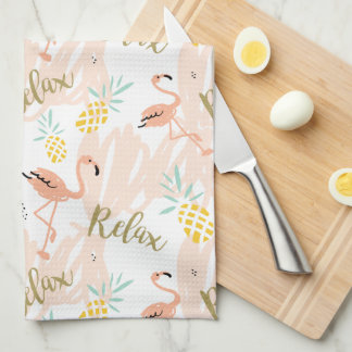 Pastel Pink Flamingo Relax Print Kitchen Towel