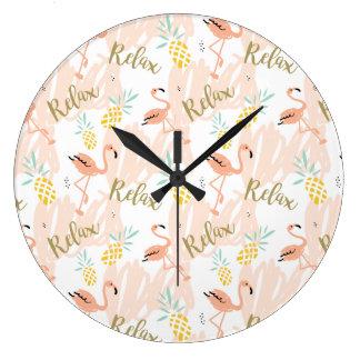 Pastel Pink Flamingo Relax Print Large Clock
