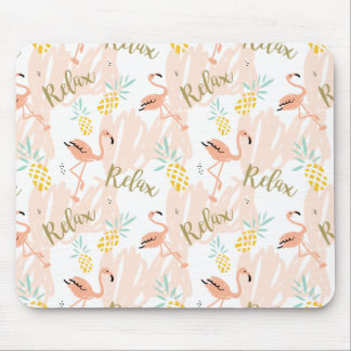 Pastel Pink Flamingo Relax Print Mouse Pad
