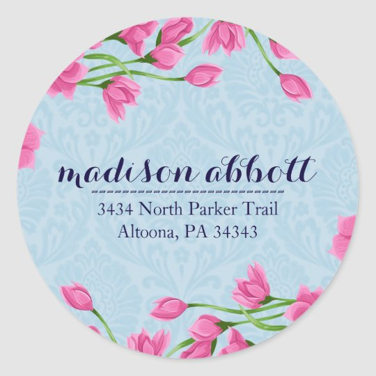 Pastel Pink Floral Design Letter Seals/ Classic Round Sticker