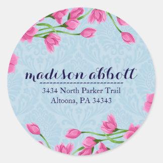 Pastel Pink Floral Design Letter Seals/ Round Sticker