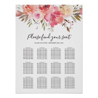 Pastel Pink Floral Wedding 12 Table Seating Chart