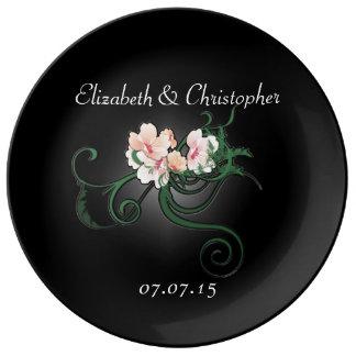 Pastel Pink Floral Wedding Commemorative Plate