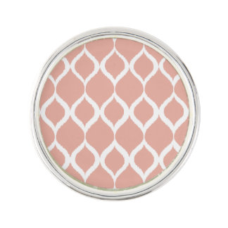Pastel Pink Geometric Ikat Tribal Print Pattern Lapel Pin
