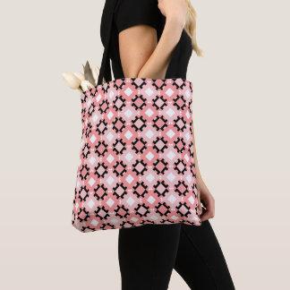 Pastel Pink Geometric Pattern Tote Bag Design