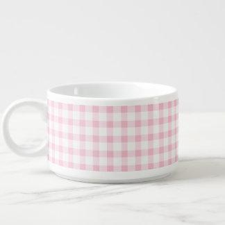 Pastel Pink Gingham Check Pattern Chili Bowl