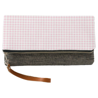 Pastel Pink Gingham Check Pattern Clutch