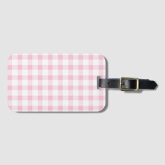 Pastel Pink Gingham Check Pattern Luggage Tag