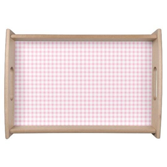 Pastel Pink Gingham Check Pattern Serving Platter