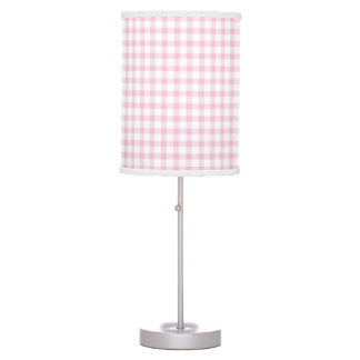 Pastel Pink Gingham Check Pattern Table Lamps