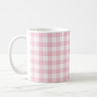Pastel Pink Gingham Checked Pattern Coffee Mug