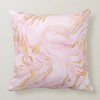Pastel Pink Gold White Marble Vip Throw Pillow