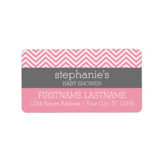 Pastel Pink & Gray Chevrons Baby Shower Collection Label