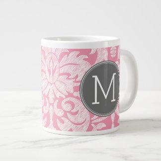 Pastel Pink & Gray Damask Pattern Custom Monogram Jumbo Mug