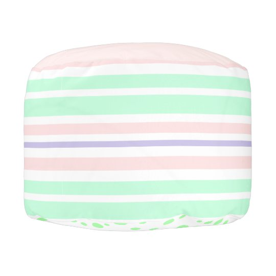 Pastel Pink, Green and Purple Pouf
