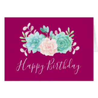 Pastel Pink & Green Floral Bouquet Birthday Card