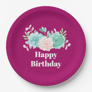 Pastel Pink & Green Floral Bouquet Birthday Paper Plate