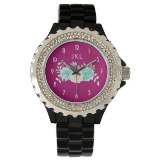 Pastel Pink & Green Floral Bouquet Custom Monogram Watch