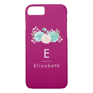 Pastel Pink & Green Floral Bouquet on Magenta Back Case-Mate iPhone Case