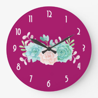 Pastel Pink & Green Floral Bouquet on Magenta Back Large Clock